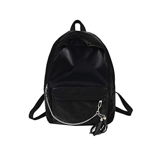 New Chain Tassel Teenage Backpacks For Girls Vintage School Bag Backpack Black L30 W11 H40cm