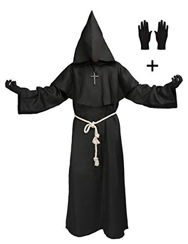 Medieval Monk Robe Priest Hooded Cap Cloak Halloween