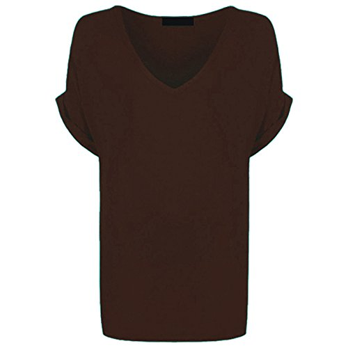 shirts T Loose Brown Batwing Tops Womens 28 Uk Hot 8 Hanger Fit Baggy Tunique Surdimensionn wz11Iv