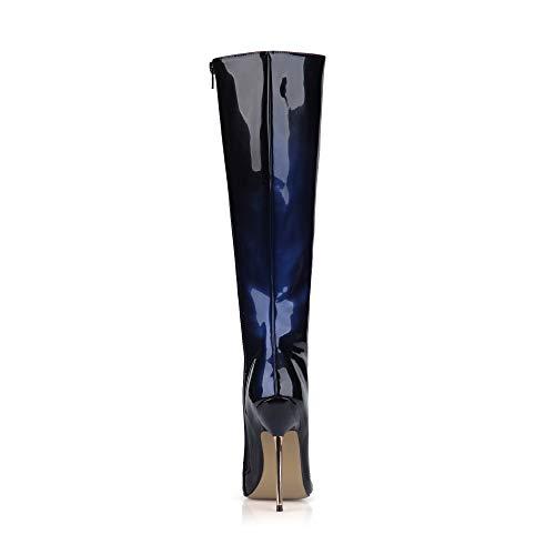 Bout Bottes Verni Chaussures Femme Bleu 12 High Noir d'hiver en Boucle pour Zipper Pointu Knee 4CM Suede Bottes Talons Cuir Hauts z6Oxfq11w