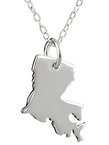 """Sterling Silver Louisiana Charm Necklace, 18"""" Chain, US State Jewelry"""