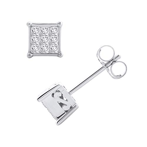 1/4 Carat Princess Cut Diamond Stud Earrings in 10K White Gold - IGI Certified ()