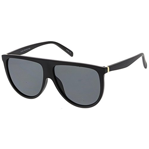 sunglassLA - Modern Oversize Flat Top Neutral Color Flat Lens Aviator Sunglasses 59mm (Matte Black / - Flat Top Sunglasses Quay
