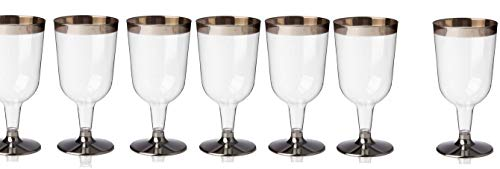 Oojami 48 Piece Silver Rimmed Clear Plastic Classicware Glass Like Champagne Wedding Parties Toasting Flutes 5 oz