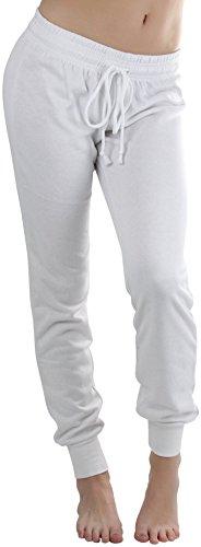 ToBeInStyle Women's Jogger Ankle Length Sweatpants - White - Medium