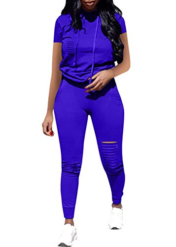 Women Casual 2 Piece Sport Outfits Short Sleeve Ripped Hole Pullover Hoodie Sweatpants Set Jumpsuits (Blue, XL) ()