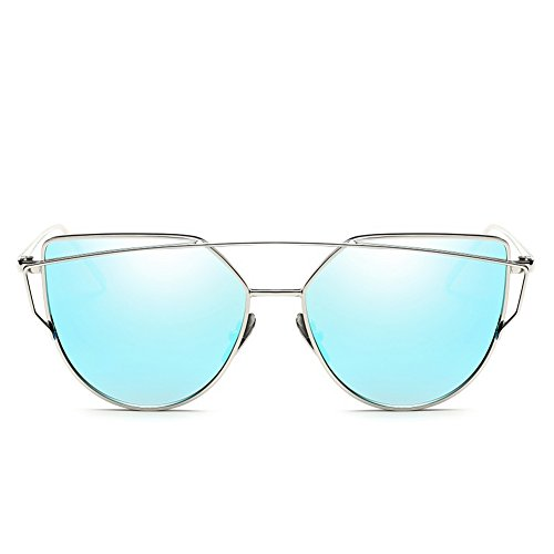 AMAZZANG-Women Flat Lens Metal Frame Oversized Cat Eye Sunglasses Mirror Glasses 9 Colors - Blue Eyes Mcqueen Steve