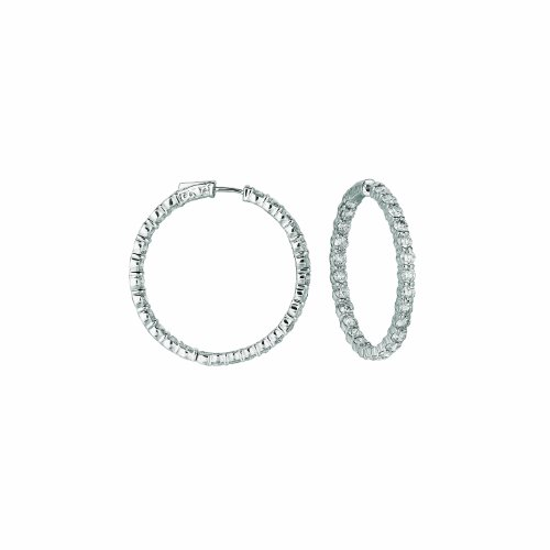 14K White Gold Hoop Earrings (patented snap lock) - 8.01ctw. Diamond