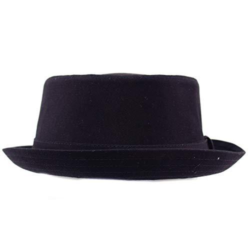 Men's Everyday Cotton All Season Porkpie Boater Derby Fedora Sun Hat L/XL Navy