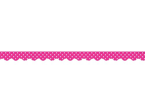 Teacher Created Resources Hot Pink Polka Dots Scalloped Border Trim (5209) (Hot Pink Border)