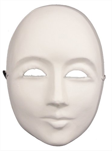 [RedSkyTrader Mens Paper Mache Plain Arts and Craft Mask One Size Fits Most White] (Plain White Mask Costume)