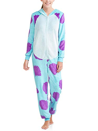 Disney Women's Faux Fur Licensed Sleepwear Adult Costume Union Suit Pajama (XS-3XL) Sully S -