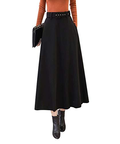 Femme Rtro lgant Couleur Unie Longue Jupes de Laine Automne Hiver Chaud A-Ligne Taille Haute Jupe plisse Courroie Assortie Noir