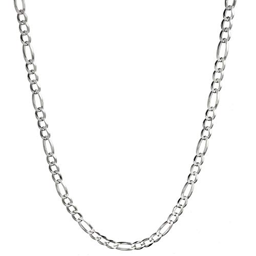 4mm Silver Figaro Chain - Solid 925 Sterling Silver 4mm Italian Figaro Link Chain Necklace - 22