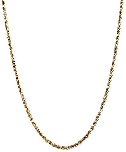 ICE CARATS 14k Yellow Gold 3.5mm Link Rope Lobster Clasp Chain Necklace 30 Inch Handmade Fine Jewelry Gift Set For Women Heart by ICE CARATS (Image #1)