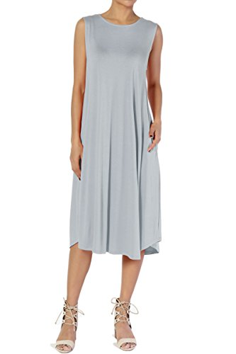 Mist Long Jacket - TheMogan Women's Sleeveless Pocket A-Line Fit and Flare Midi Long Dress Grey Mist L