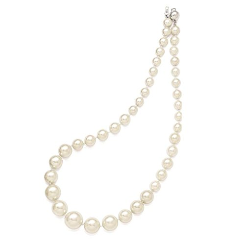 925 Sterling Silver 8-16mm Graduated White Simulated-pearl Necklace 18