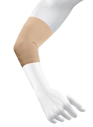OS1st ES6 Elbow Compression Bracing Sleeve (One Sleeve) relieves Tennis or Golfers Elbow, Cubital Tunnel Syndrome, Supports Damaged tendons & Controls Forearm Pain (Natural, Medium)