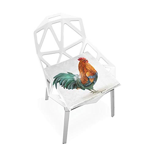 (TSWEETHOME Comfort Memory Foam Square Chair Cushion Seat Cushion with Colorful Rooster Chair Pads for Floors Dining Office Chairs)