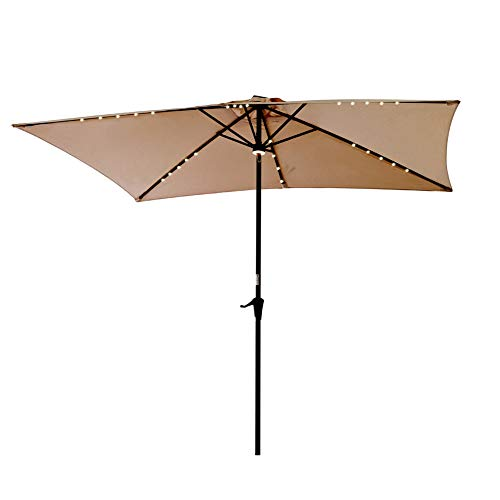 C-Hopetree Rectangle LED Patio Deck Umbrella 6ft 6in x 10 ft Outside Parasol with Crank Winder Beige