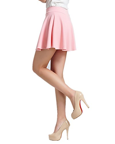 ViviClo Women's High Waist Solid Versatile Stretchy Pleated Flared Skater Skirt with Safety Shorts - Mini Flair Skirt