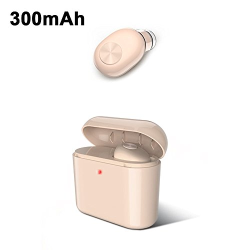 Mini Headphones with Charging Box Wire-less Blue-tooth Stereo Earset Voice Message Calls To Reject Headset for iPhone,Samsung,Android Phone,Smartphones and Tablets_300mAh Skin Tone (Wireless Webcam Blue Tooth)