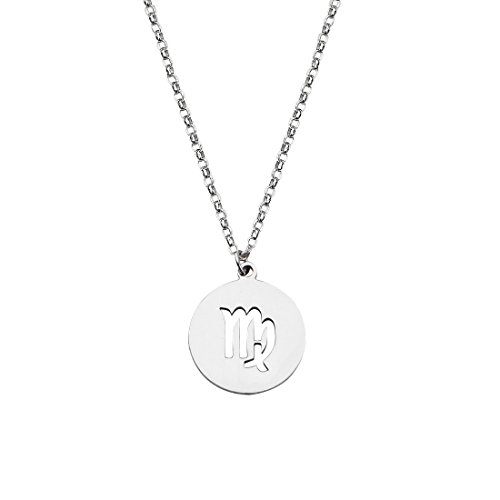 Zodiac Signs Cut Out Stainless Steel Disc Necklace (Virgo Zodiac Pendant Necklace)