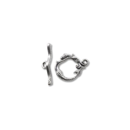 (Toggle Clasp - Mermaid 20x17mm Pewter Antique Silver Plated (Set))