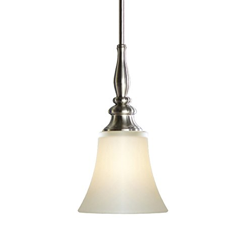 Brushed Nickel Hardwired Single Etched Glass Bell Pendant
