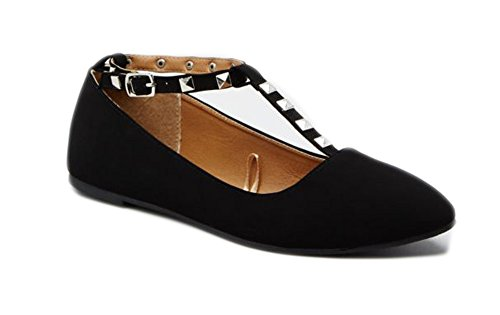 Black Accent Flat (Charles Albert Women's Studded Accent T-Strap Pointed Toe Ballet Flats (10,)