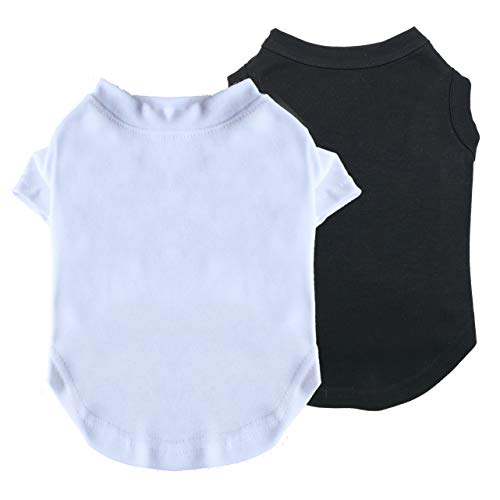 WONDERPUP 2Pcs Puppy Dog Plain Tee Shirt with Breathable Clothes for Pet Costumes Cat Tank Vest 10 inch