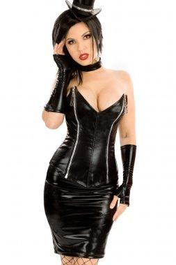 Para mujer 4 piezas vinilo negro PVC pelacables juego de lencería ...