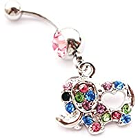 Dedegui 14g Cute Coloful Gems Elephant Belly Button Navel Ring Body Piercing Jewelry