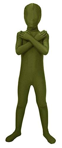 Morphsuit Accessories (Sheface Kids Spandex Full Bodysuit Fancy Dress Costume (Medium, Army Green))