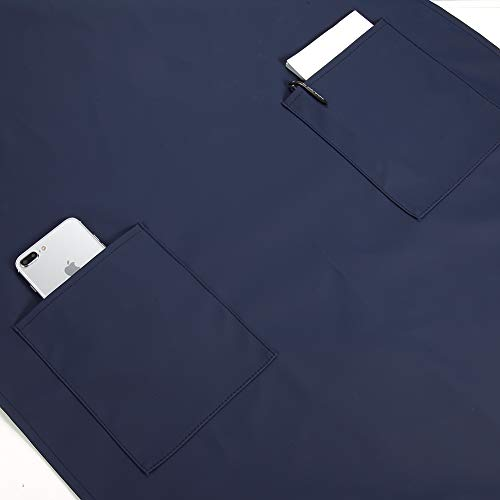 Waterproof Rubber Vinyl Apron with 2 Pockets - Chemical Resistant Work Cloth - Adjustable Bib Butcher Apron - Best for DishWashing, Lab Work, Butcher, Dog Grooming, Cleaning Fish (Blue) by VWELL (Image #3)