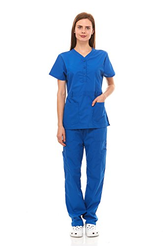 Denice Womens Medical Uniforms Kendall Faux Belted Waist Nurses Scrubs Set 1105 (2X-Large, Royal)