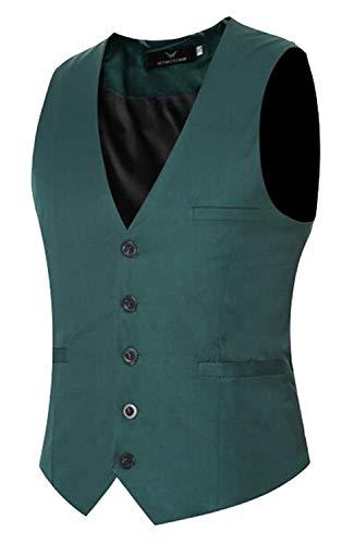 Gilets Grün Basic Veste Robe De Unie Fit Vêtements Couleur Fête Mariée Slim Vest nYvqYwA7