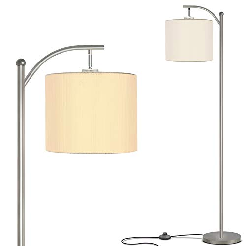 Addlon Floor Lamp for Living Room with Lamp Shade and 9W LED Bulb - Modern Standing Lamp - Floor Lamps for Bedrooms-Silver