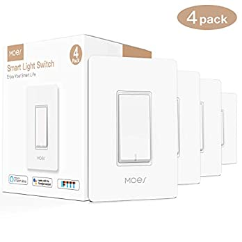 MOES WiFi Smart Light Switch,Smart Life/Tuya APP Remote Control,Compatible with Alexa Google Home for Voice Control,No Hub Required ETL Listed(Standard Size)