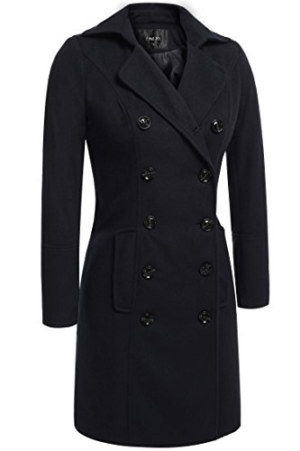 Etuoji Notched Lapel Winter Coat With Black Button Casual Jacket (3 Colors,S-3XL)