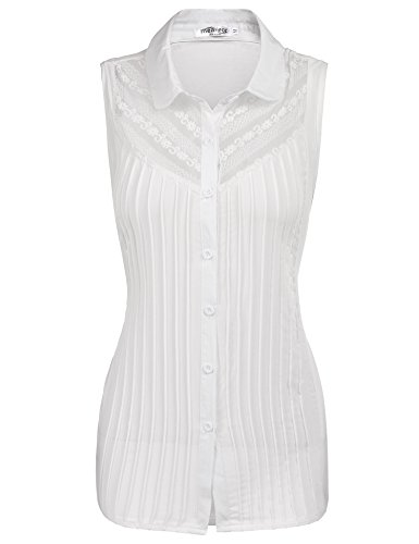 Meaneor Womens Casual Pleated Sleeveless