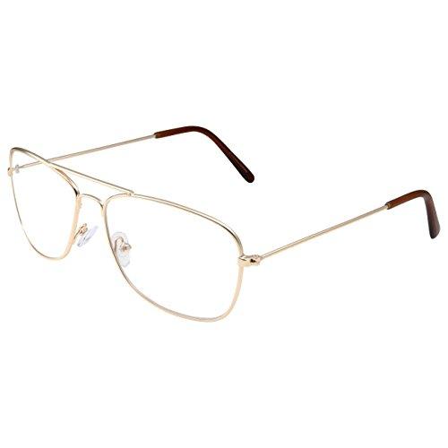 Clear Lens Gold Square Aviator Glasses Classic Non-Prescription for - Aviator Square Glasses