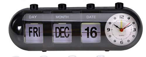 Black Retro Flip Digital Quartz Home Desk Alarm Clock Day Date Calendar Time ()