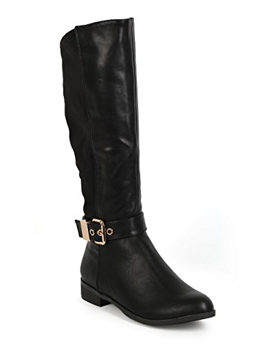 Liliana CI68 Women Leatherette Lycra Mid-Calf Buckle Stretch Riding Boot Black Leatherette