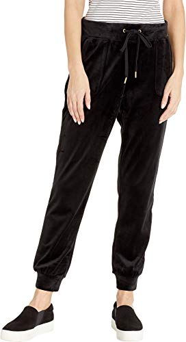 Juicy Couture Women's Racer Velour Jogger Pitch Black Small 26.5