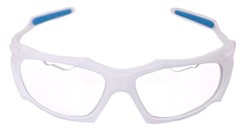 Python Full Framed (Clear Lense/White Frame) Racquetball Eye Protection (Pickleball, Squash) (Eyewear, Goggle, Eyeguard)