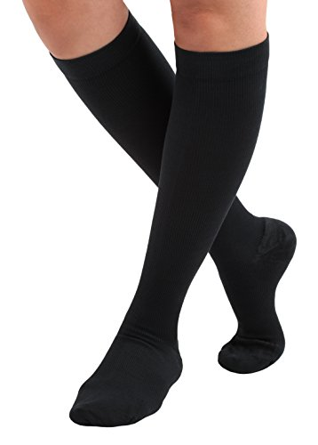Made in The USA – Absolute Support Cotton Compression Socks, Graduated Support Socks 20-30mmHg, Unisex, Closed Toe, Super Comfortable, Medical Compression Stockings, Black, Size Medium – SKU: A105BL2