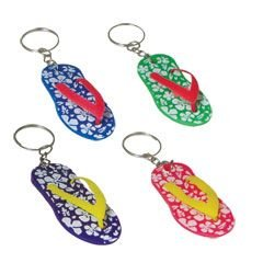 Hibiscus Sandal Keychain Hawaiian Party Favors - 12 Pack