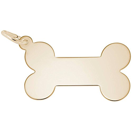 (Custom Engraving (up to 14 characters) Rembrandt Charms, Dog Bone, 22k Yellow Gold Plated Silver)