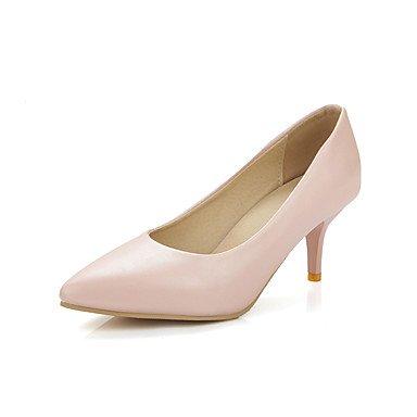 Talones de las mujeres Primavera Verano Otoño Otro de cuero boda oficina y carrera al aire libre Fiesta y Noche Tacón de aguja Vestido informal HeelPink Plata Pink